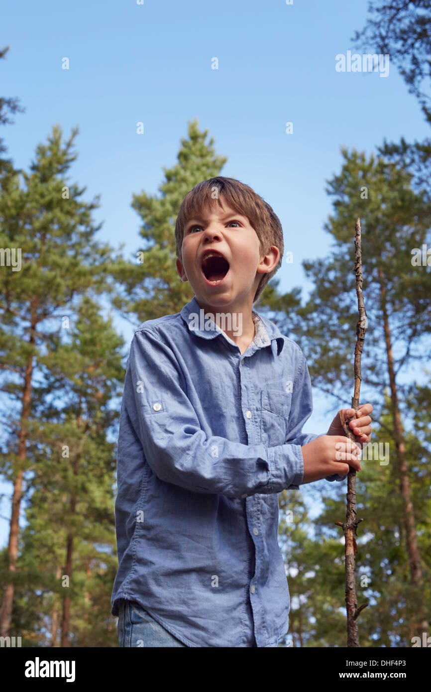 Boy standing in forest, holding stick, mouth open shouting Stock Photo