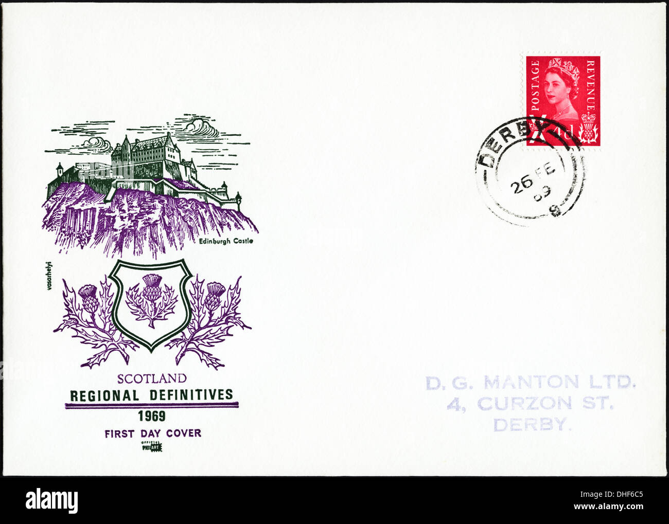 Commemorative 4d postage stamp first day cover for Scotland definitive issue dated 26th February 1969 post marked Derby - Stock Image