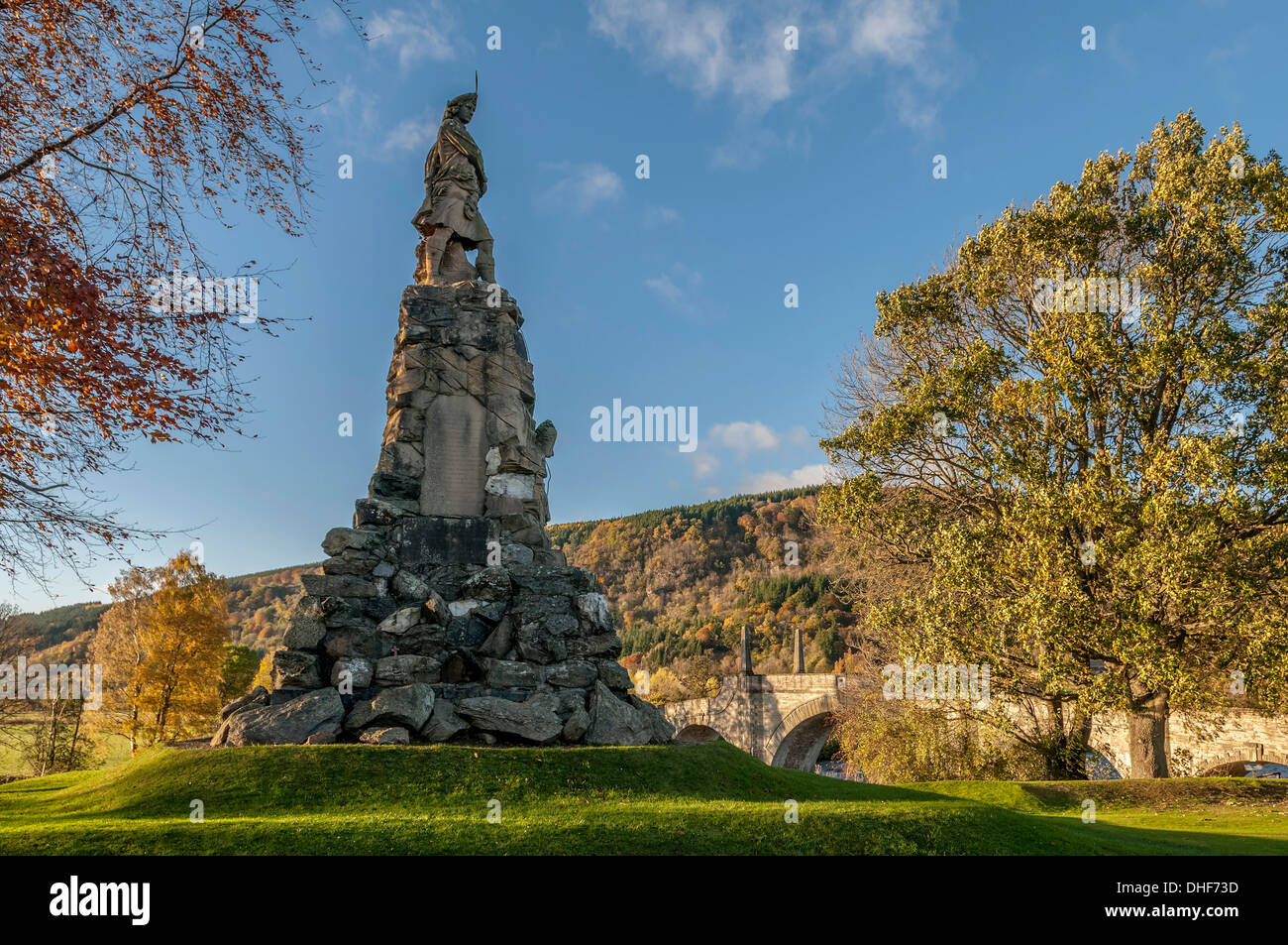 The Black Watch Memorial at Aberfeldy in Perthshire. - Stock Image