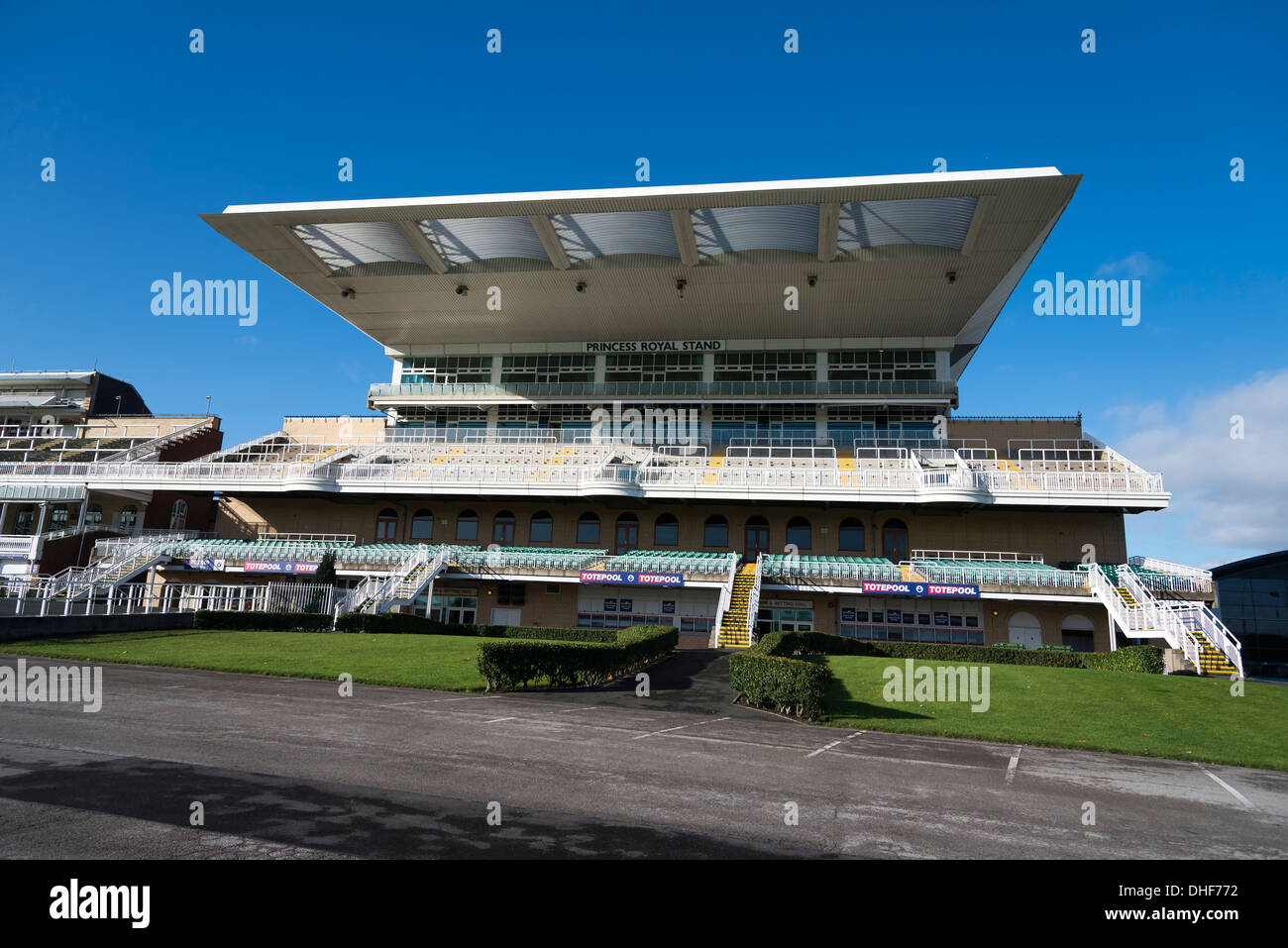 The Princess Royal stand at Aintree racecourse in Liverpool home of the Grand National Stock Photo