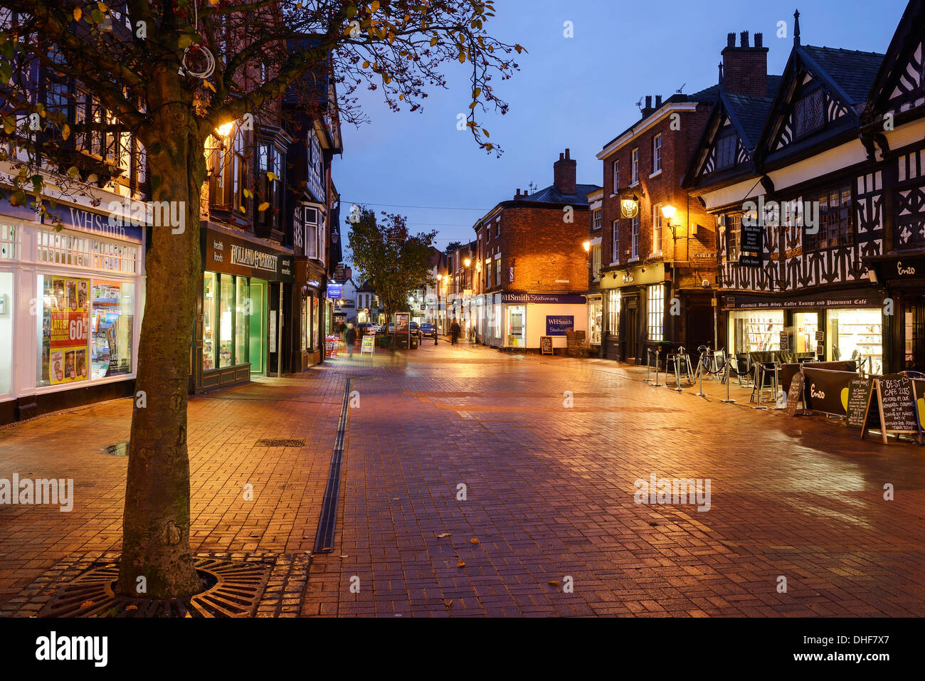 Deserted shopping street in Nantwich town centre - Stock Image