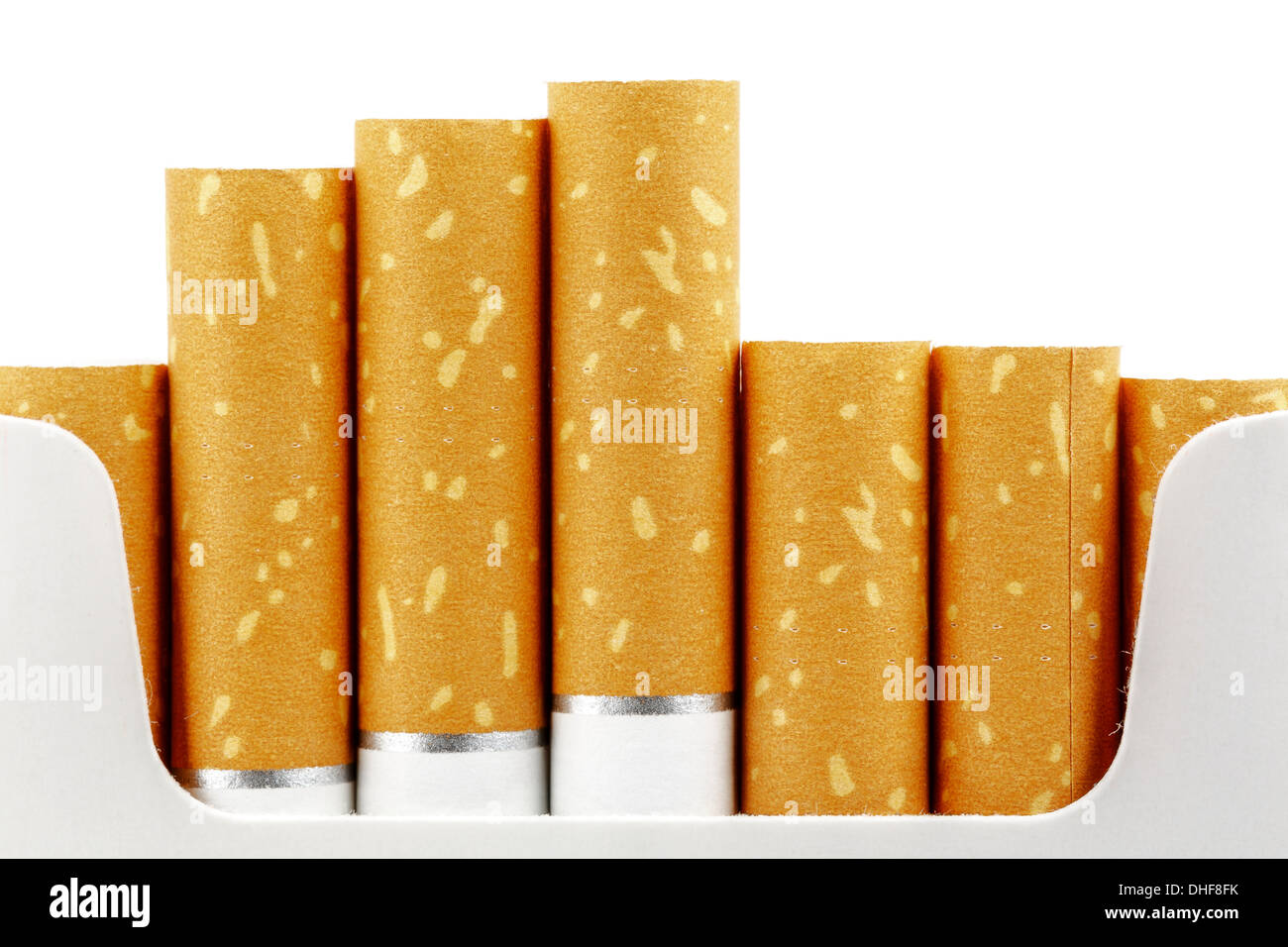 Cigarette filters put forward from the pack - Stock Image