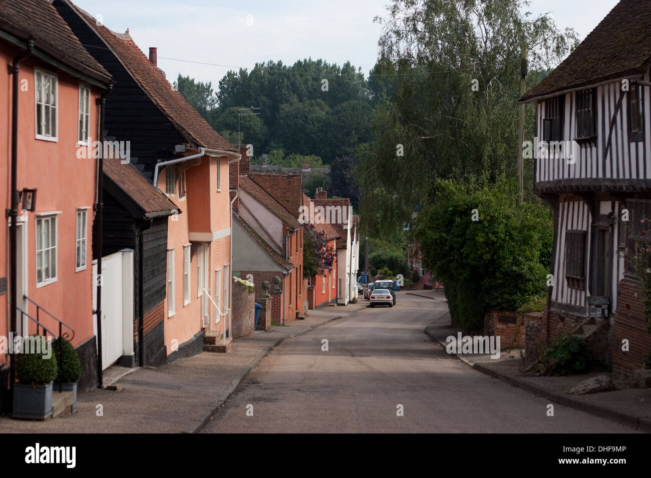 View down the street in Kersey, Suffolk - Stock Image
