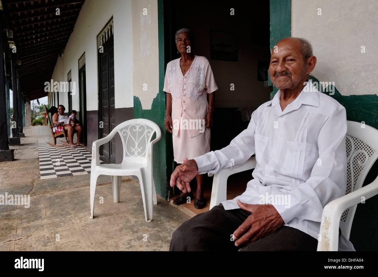 Local residents in the town of Perita Peninsula de Azuero Herrera province Republic of Panama - Stock Image