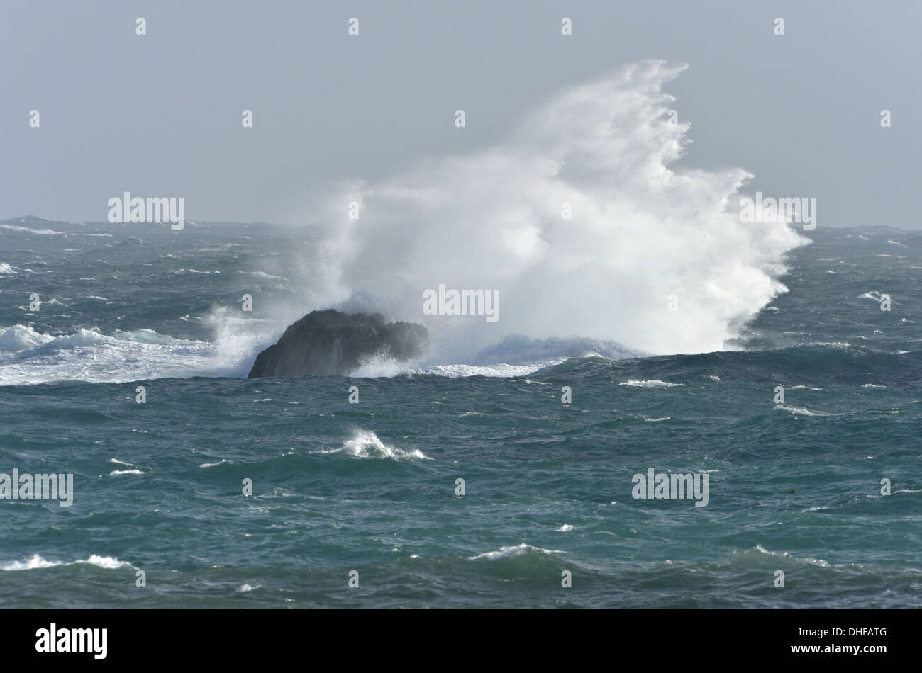 Rough sea on the British coast - Stock Image