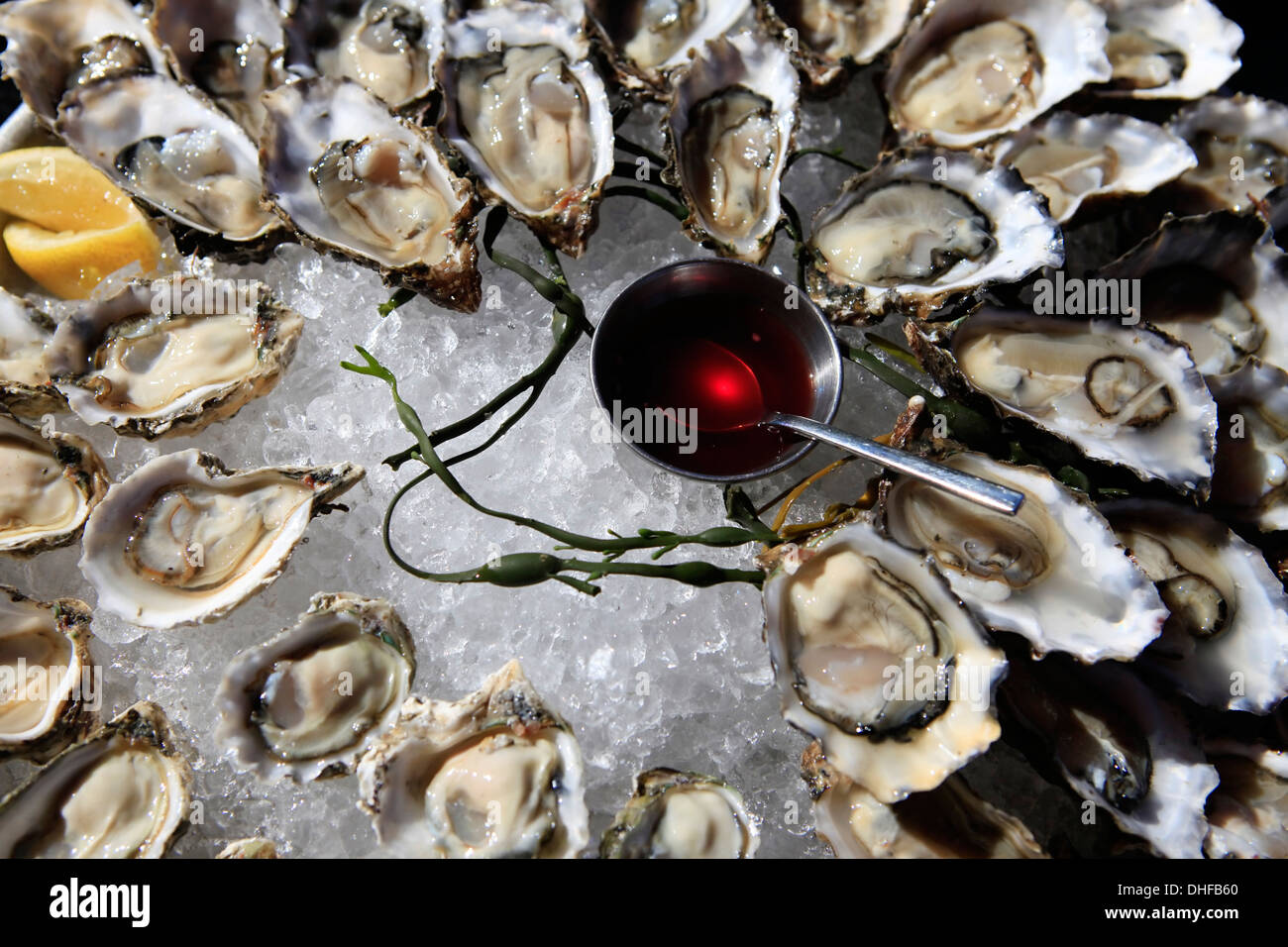 Opened oysters on ice with red souse - Stock Image