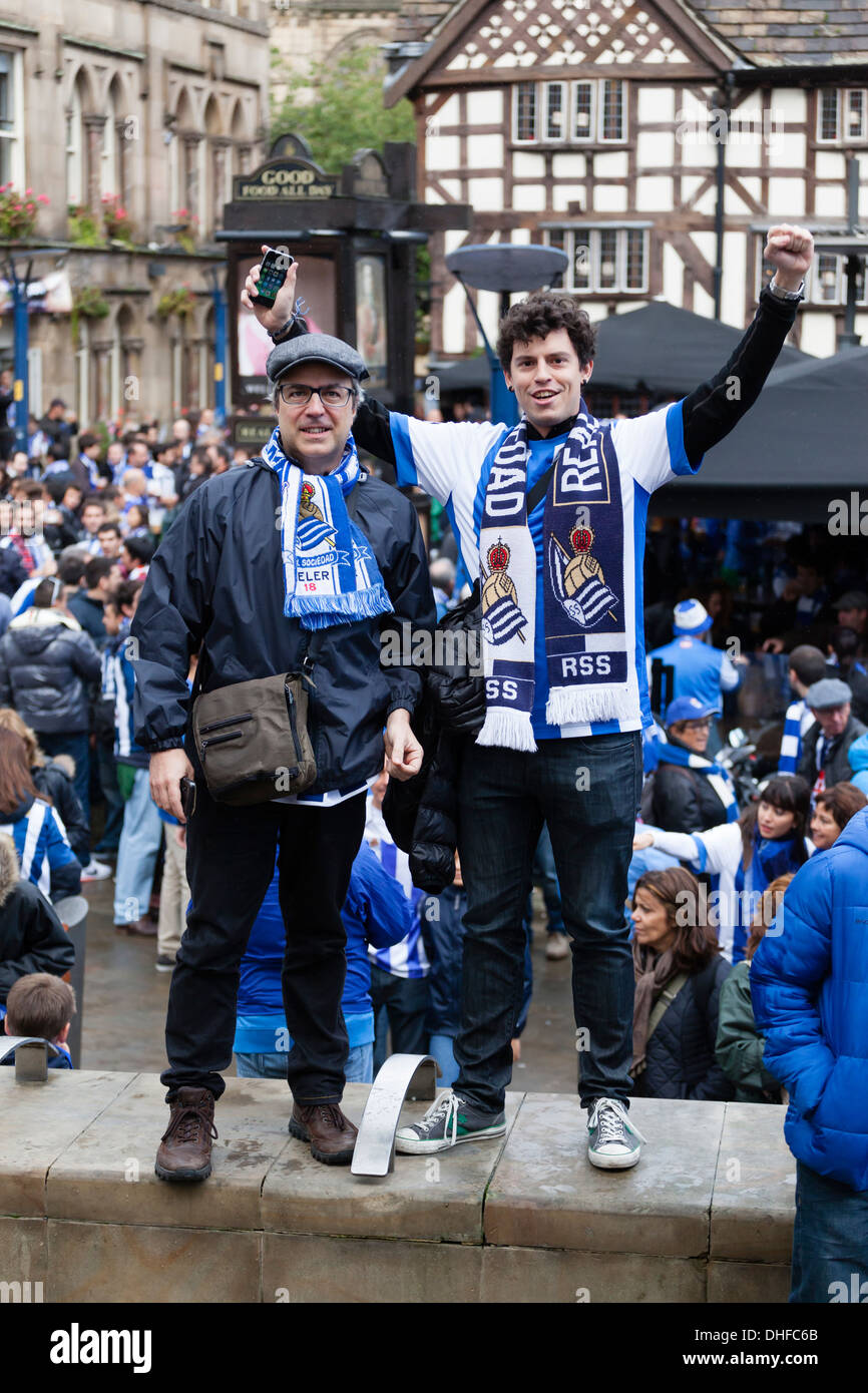 Fans of Real Sociedad in Manchester City Centre before their teams Champions League group game against Manchester United. - Stock Image