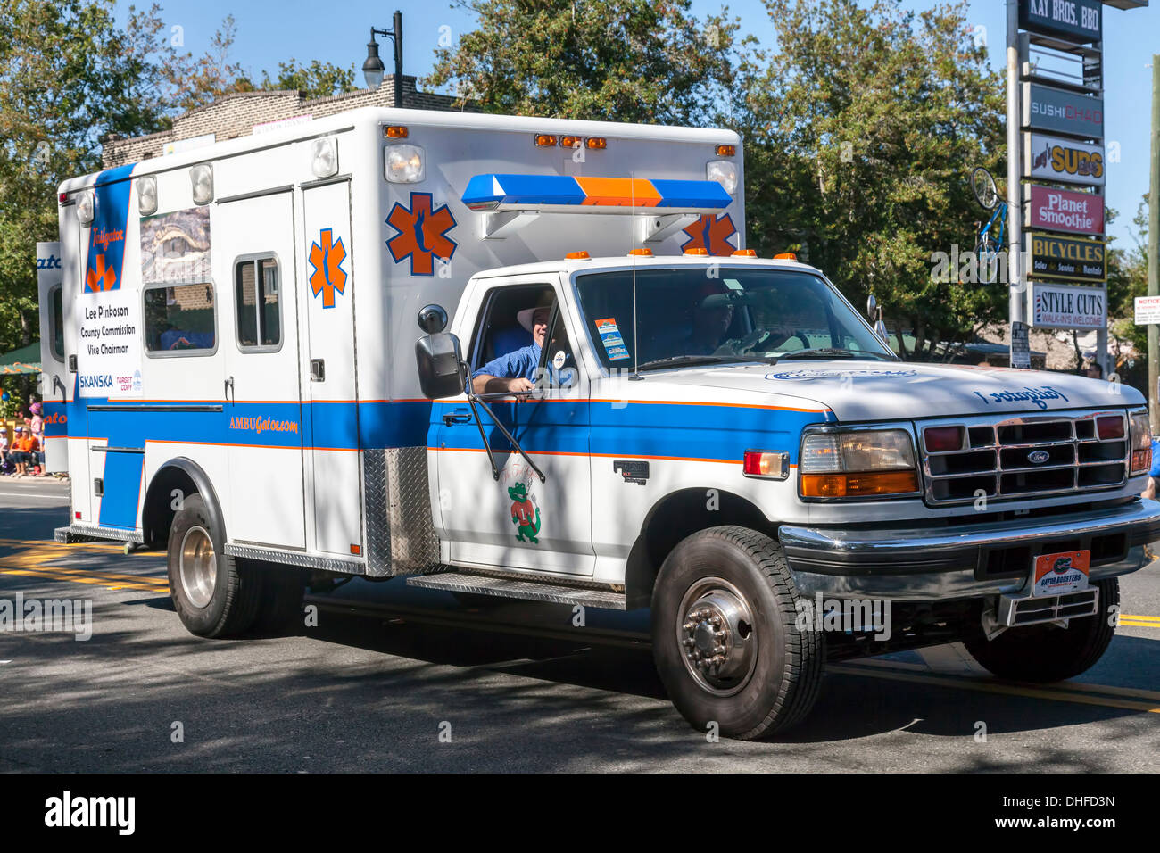 University of Florida ambulance in Homecoming Parade 2013 in Gainesville, Florida, USA. - Stock Image