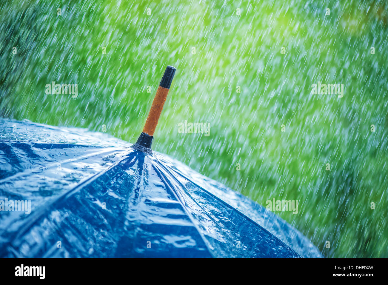 umbrella and rain drops closeup - Stock Image
