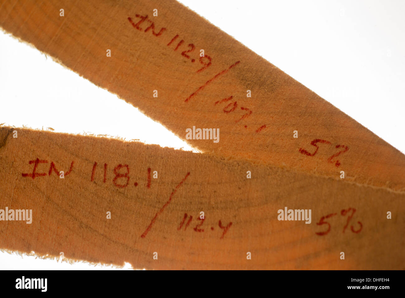 LUMBER HUMIDITY MOISTURE REDUCTION CALCULATIONS OF KILN TIMBER SLICES - Stock Image