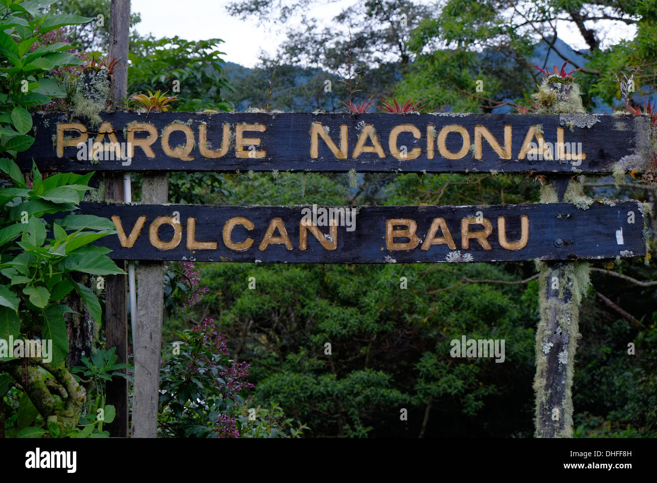 Entrance to national park Volcan Baru in western Chiriqui Province Republic of Panama - Stock Image