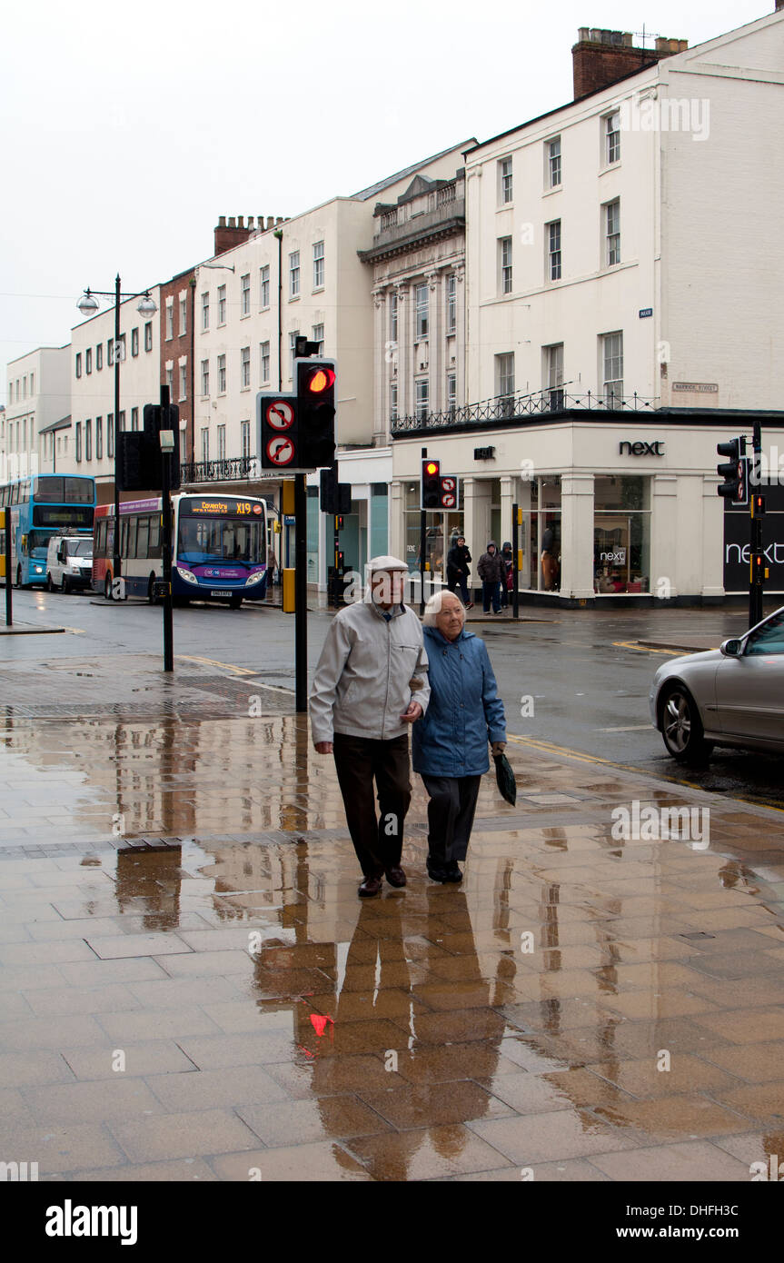 The Parade in wet weather, Leamington Spa, UK - Stock Image