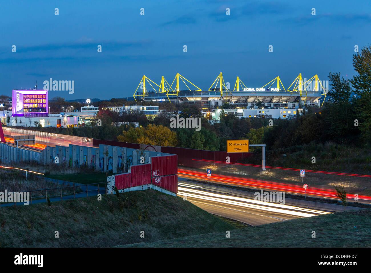 City skyline of Dortmund, Germany. Motorway, Autobahn A40, football stadium of Borussia Dortmund, BVB, Bundesliga. - Stock Image