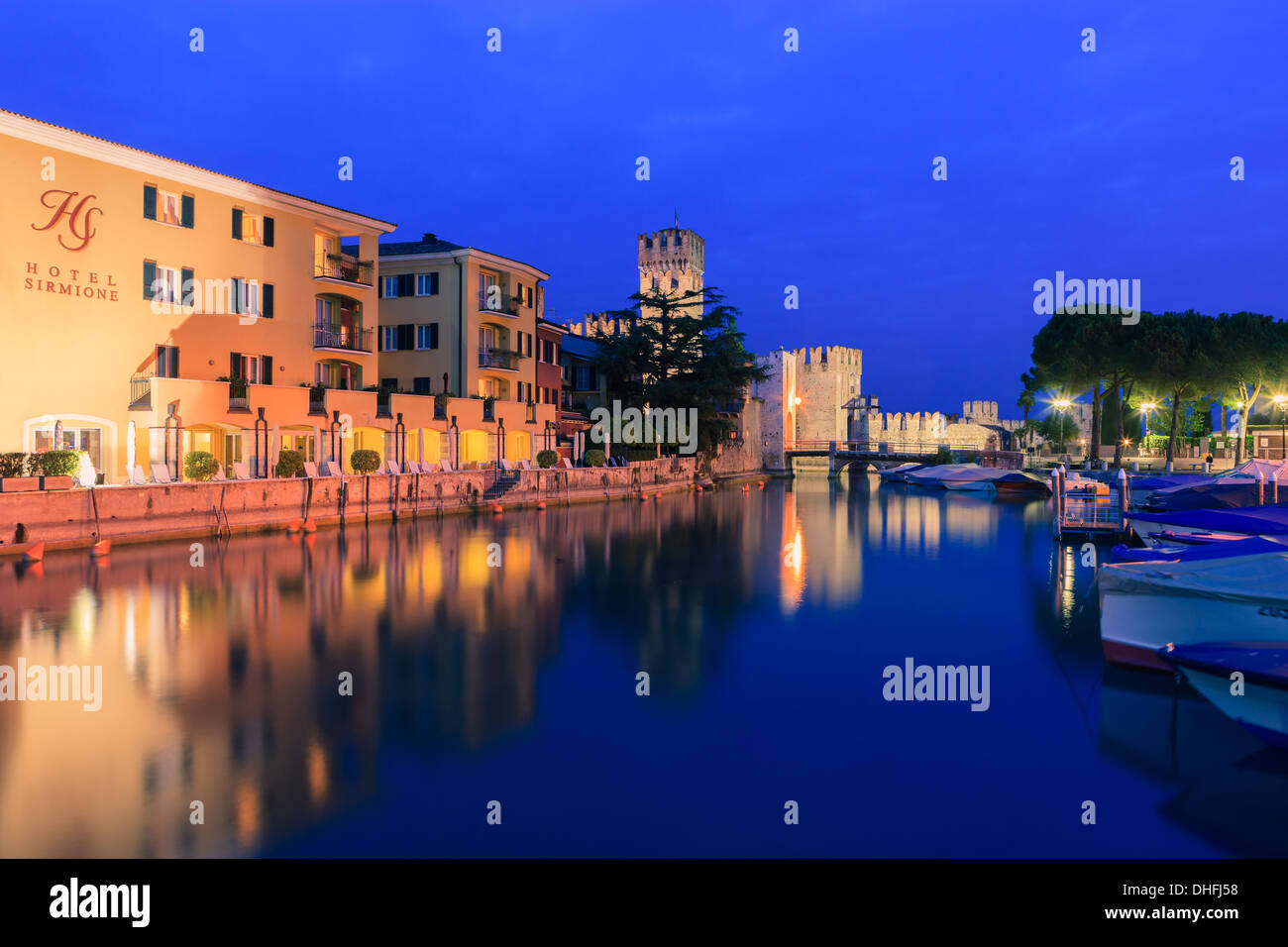 Sirmione is a comune at lake Garda in the province of Brescia, in Lombardy, northern Italy Stock Photo