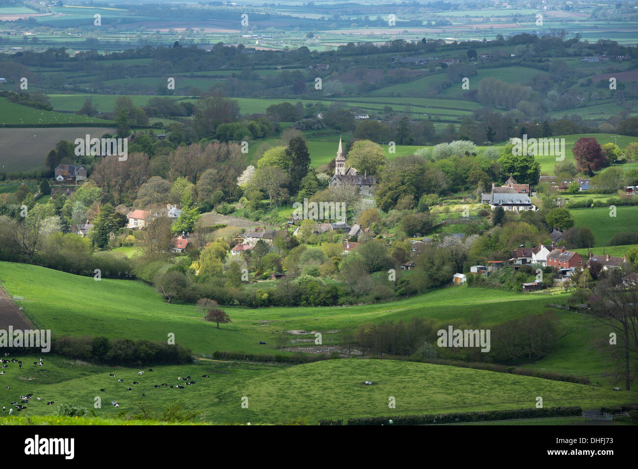 The Dorset Village of Compton Abbas in the Blackmore Vale - Stock Image