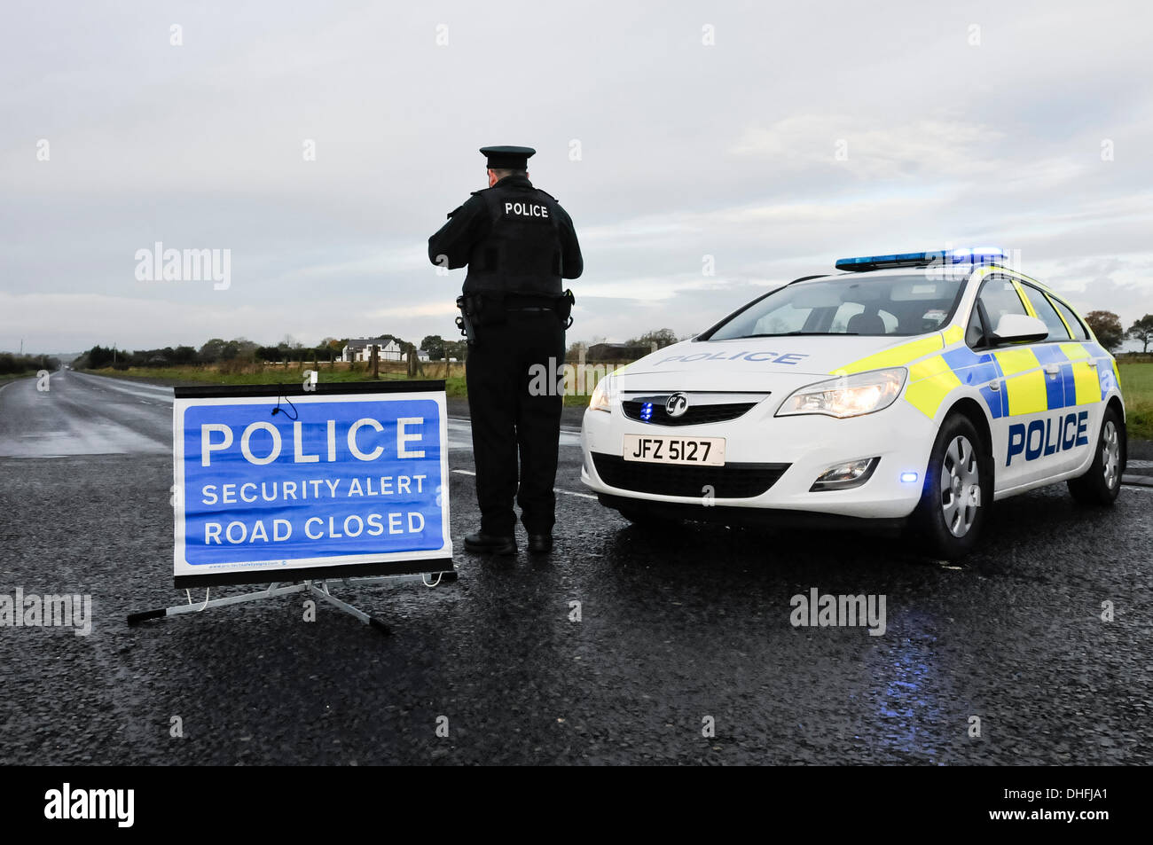 Nutts Corner, Co. Antrim, Northern Ireland. 9th Nov 2013 - A security alert closes the A52 between Belfast and Antrim, the main A-class road to the International Airport, for a second day.  Nothing has yet been found. Credit:  Stephen Barnes/Alamy Live News - Stock Image