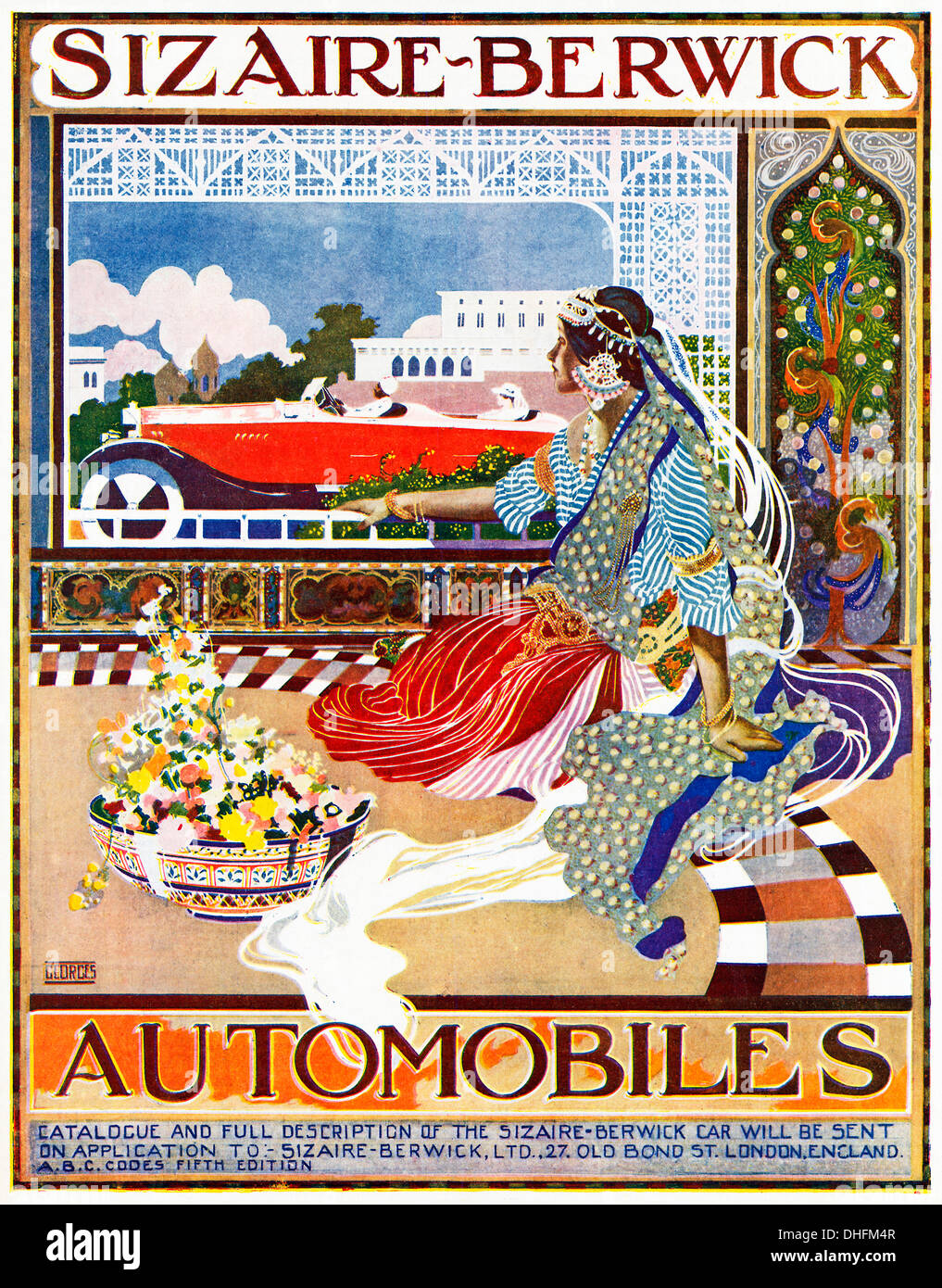 Sizaire Berwick Automobiles, 1919 ad for the British cars in an Indian magazine, a princess watches one drive past with the memsahib - Stock Image