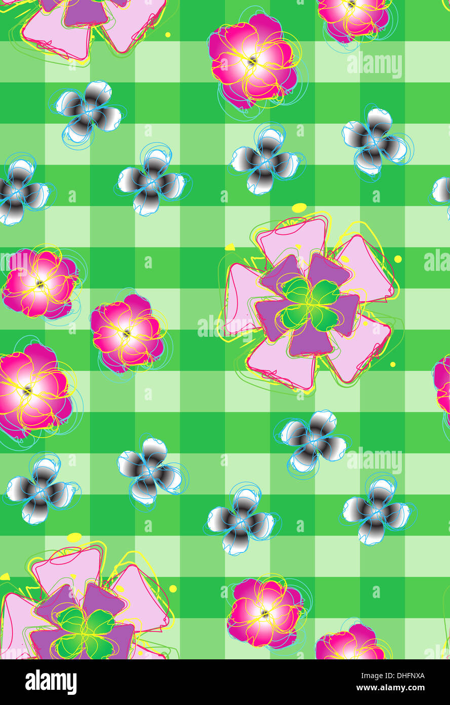 Beautiful seamless background with stylized flowers on on checkered. - Stock Image