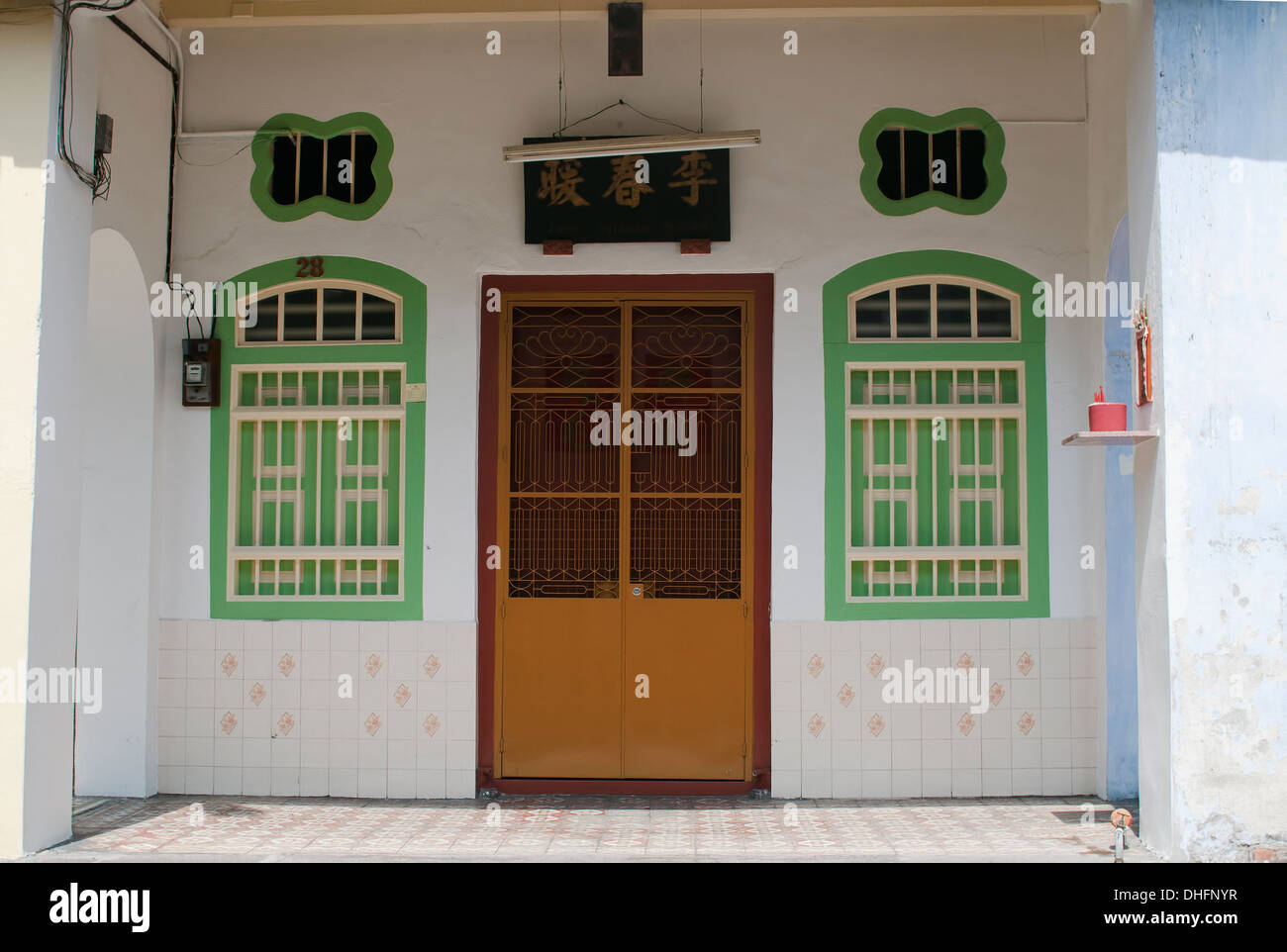 An old shophouse in UNESCO heritage site Penang - Stock Image
