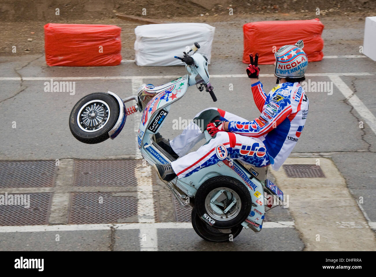 Eicma 2013, Rho Fiera, Italy, International Motorcycle Exhibition, Stuntman - Stock Image