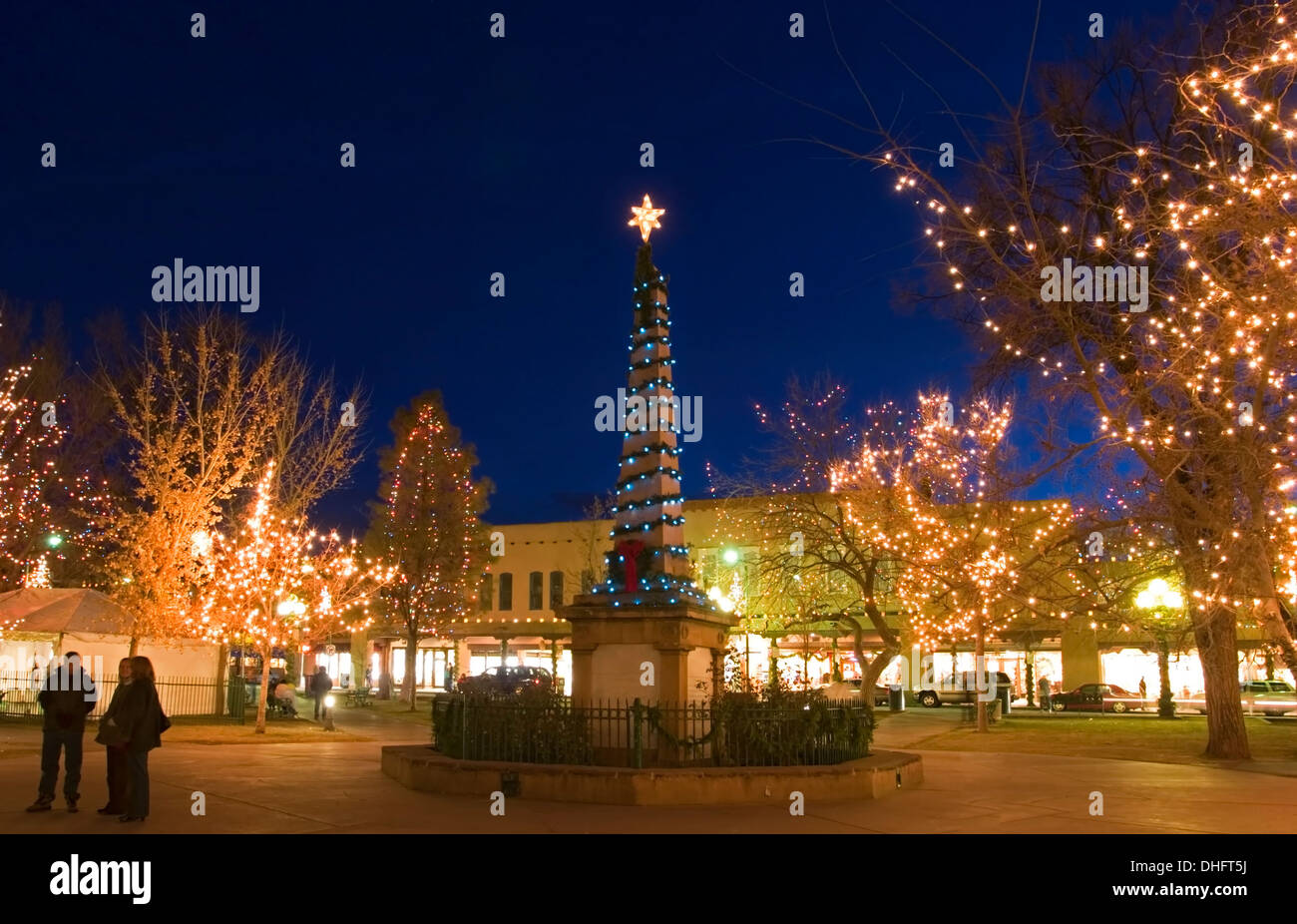 Santa Fe Plaza And Christmas Lights New Mexico Usa Stock Photo Alamy