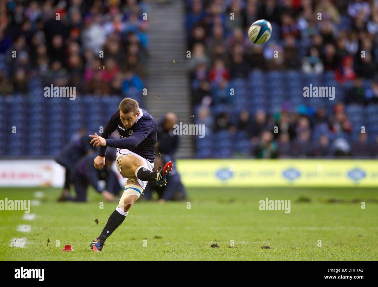 Edinburgh, Scotland  09th Nov, 2013  Scotland's Greig Laidlaw scores