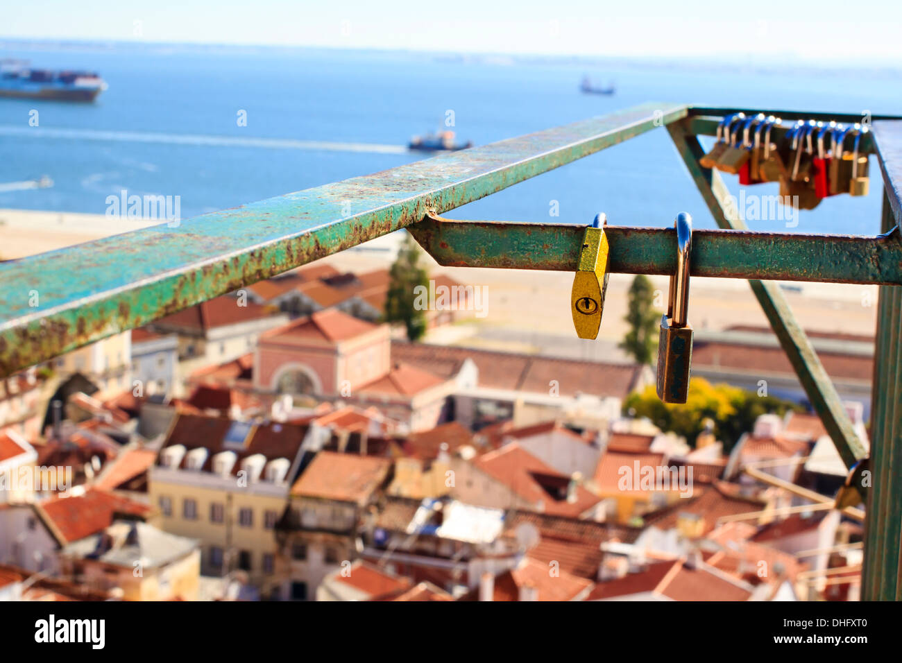 """Love locks at one of the the """"Miradouro"""" viewpoints in the central Lisbon, Portugal Stock Photo"""