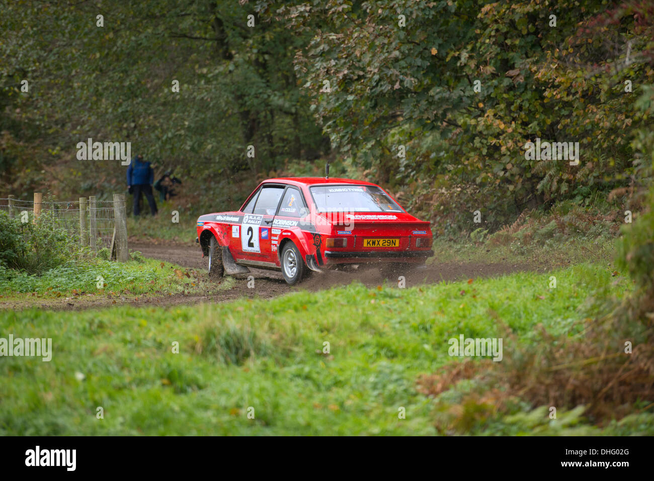 Duncombe Park, North Yorkshire, UK . 09th Nov, 2013. UK RAC Rally Duncombe Park Special Stage 8. Matthew Robinson and Sam Collis, at this point lying 2nd in class D5 (for historic cars registered be 1975 and 1981) in a Ford Escort Mk 2 Credit:  Geoff Tweddle/Alamy Live News - Stock Image