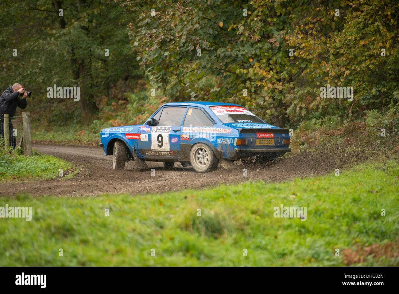 Duncombe Park, North Yorkshire, UK . 09th Nov, 2013. UK RAC Rally Duncombe Park Special Stage 9. Alan McDowall and Gavin Heseltine  from North Humberside Motor Club in classD5 (for historic cars registered between 1975 and 1981) in a Ford Escort RS1800 Credit:  Geoff Tweddle/Alamy Live News - Stock Image