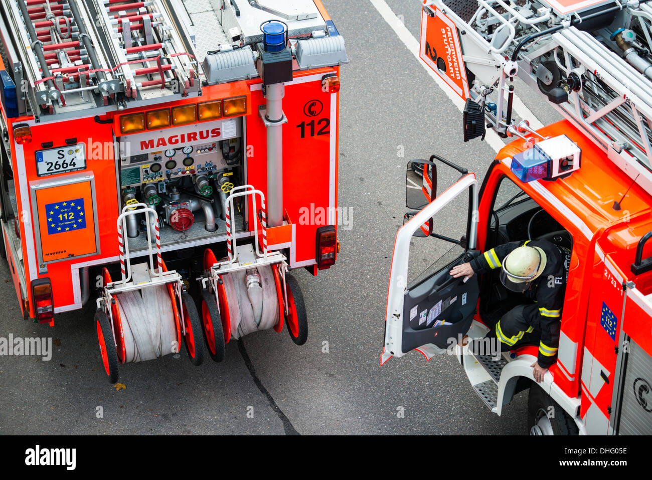 The Stuttgart fire brigade is fighting a smaller fire that started after lunch time in a private kitchen up in Rotenwaldstrasse - Stock Image