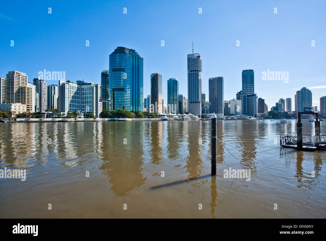 Australia, Queensland, Brisbane, view of the city skyline across Brisbane River - Stock Image