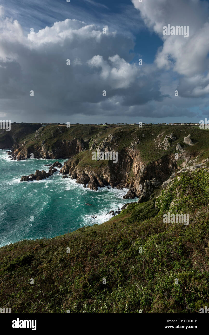 Petit Bot Bay from Icart Point on Guernsey, Channel Islands. - Stock Image