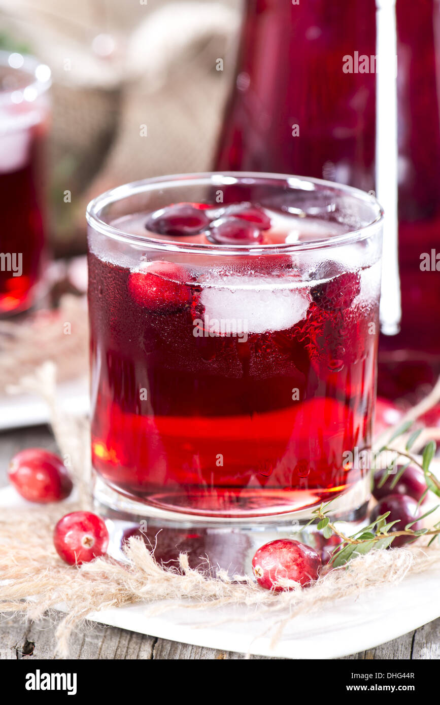 Chilled Cranberry Juice in a glass - Stock Image