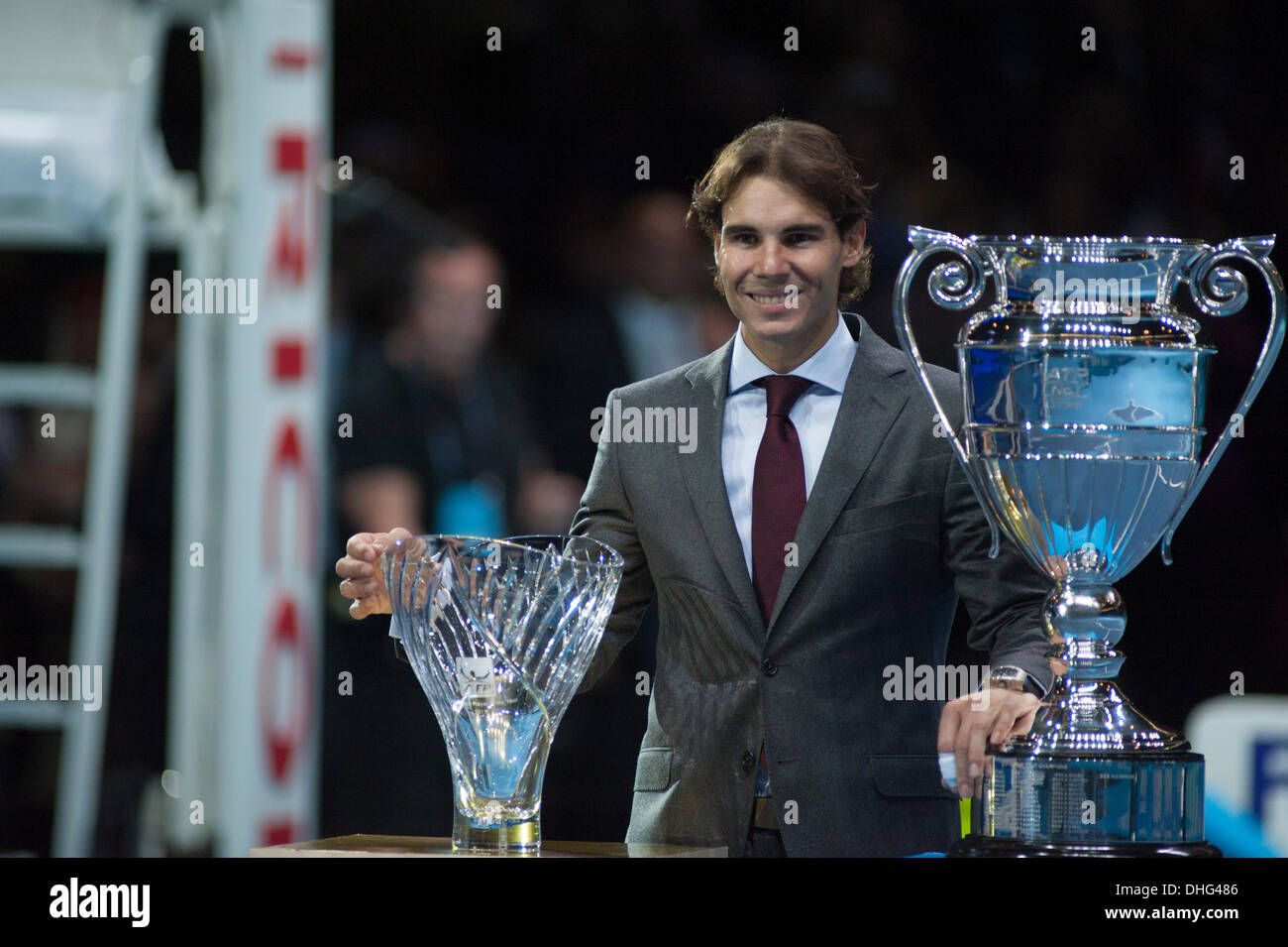 London, UK. 9 November 2013.  Rafael Nadal is presented with two awards: ATP World Tour No 1 presented by Emirates, and Comeback Player of the Year Credit:  Malcolm Park editorial/Alamy Live News - Stock Image