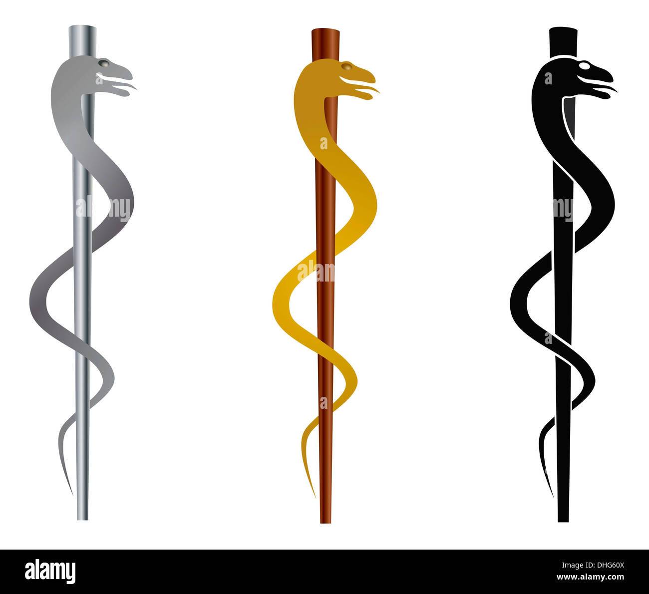 Rod Of Asclepius Medical Symbol Isolated On White Background Stock
