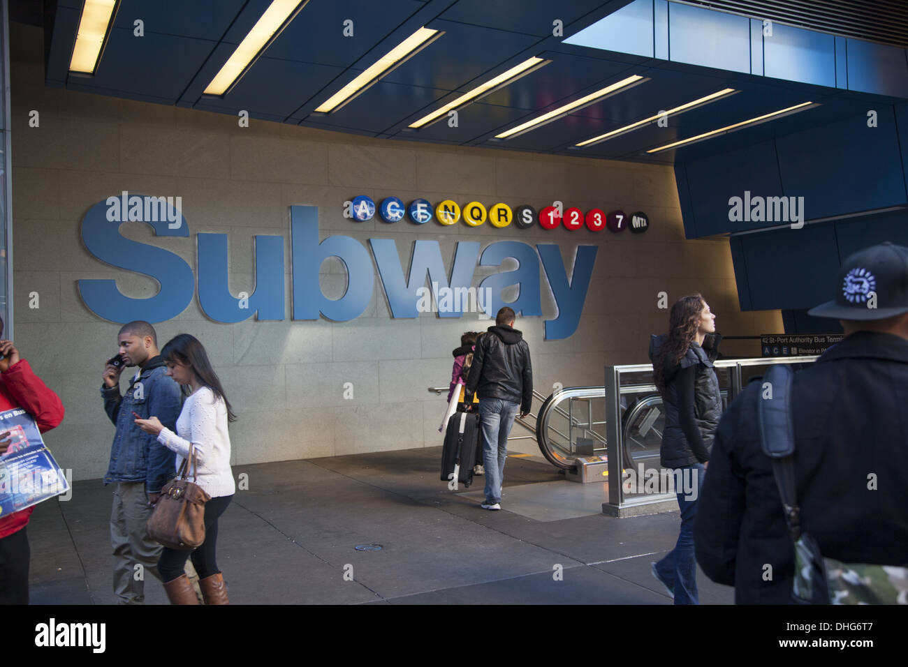 Large subway station entrance along 42nd Street in NYC - Stock Image