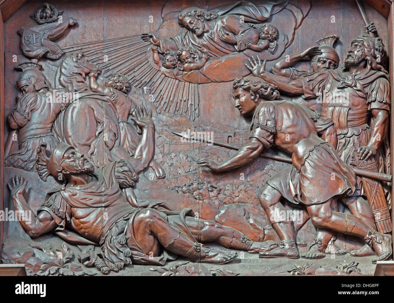 ANTWERP, BELGIUM - SEPTEMBER 5: Carved relief of Conversion of st. Paul in St. Pauls church (Paulskerk) - Stock Image