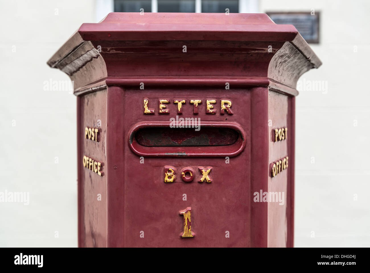 The oldest letter box still in use in the British Isles. Union Street, St Peter Port, Guernsey, Channel Islands - Stock Image