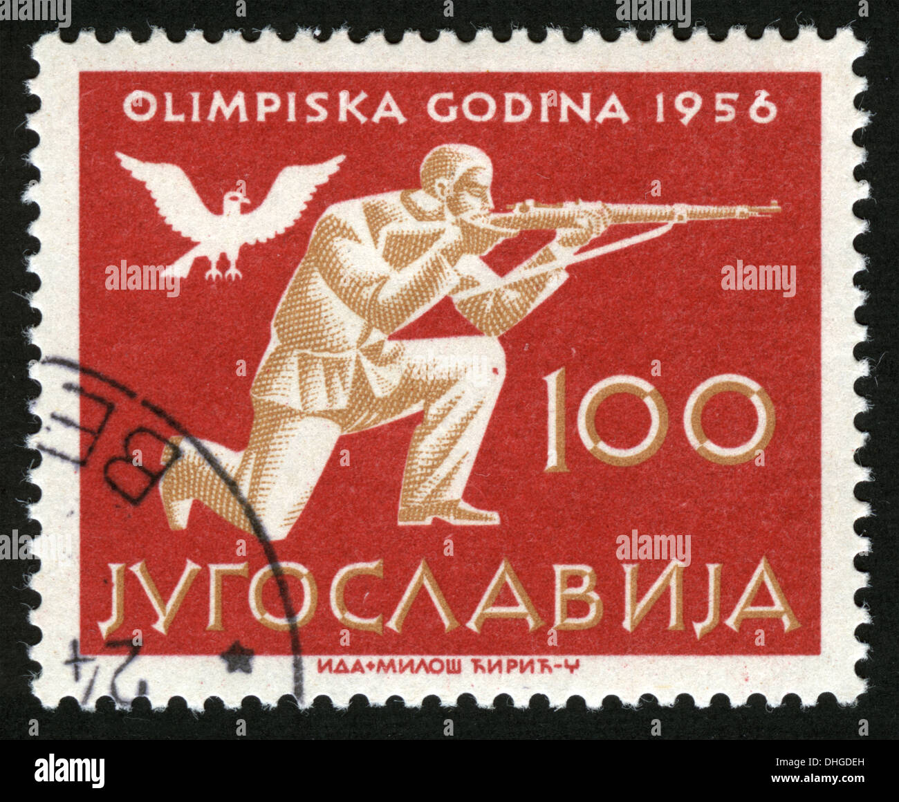 Yugoslavia,post mark,stamp,1956,Olympics, sports,  shooting - Stock Image