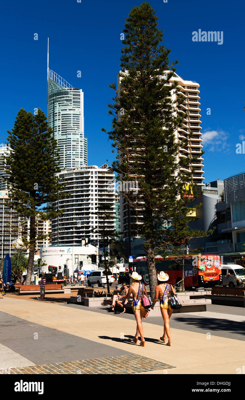 Gold Coast meter maids, women in bikinis, patrol the streets of the Gold Coast being friendly to tourists. - Stock Image