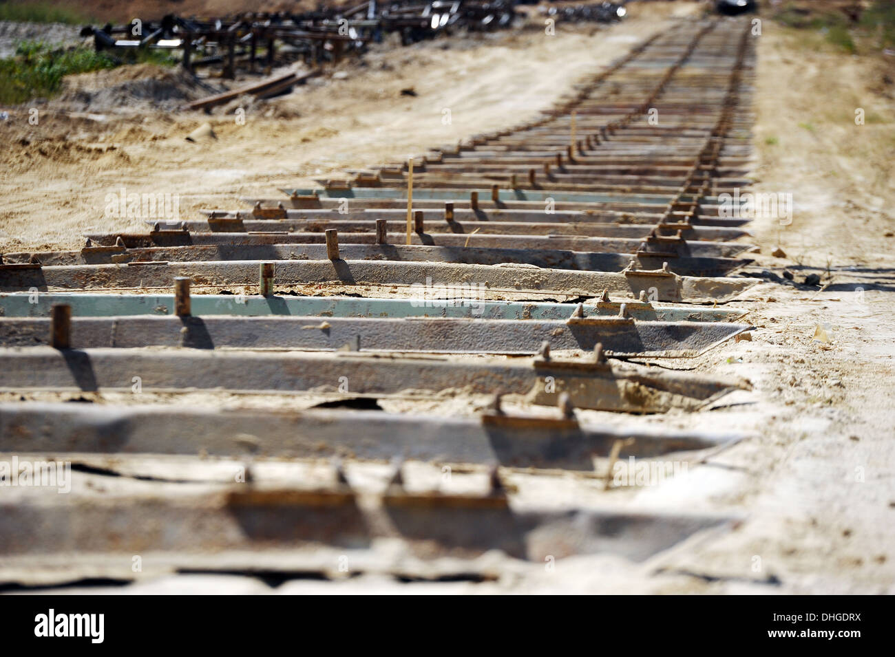 Installation of rolling stock preparation of metal bars - Stock Image