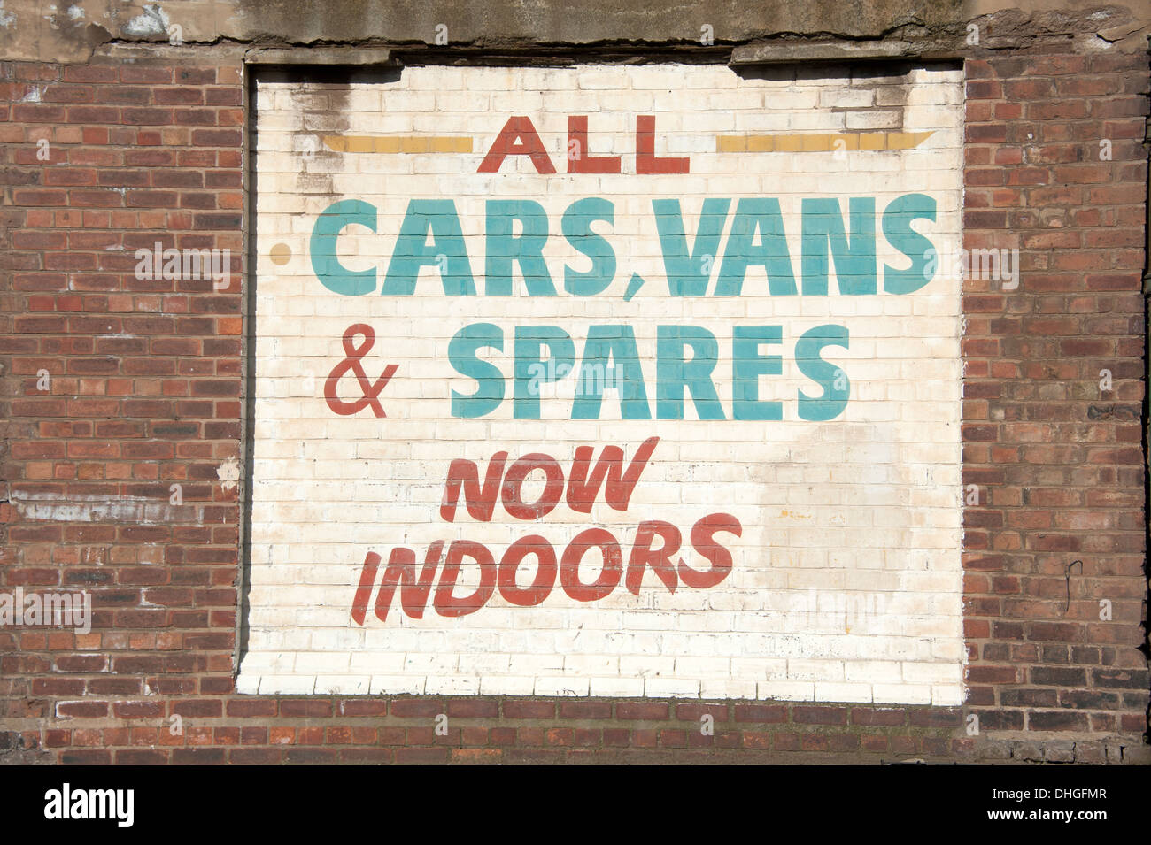 All Cars Vans & Spares Now Indoors Scrap Yard - Stock Image