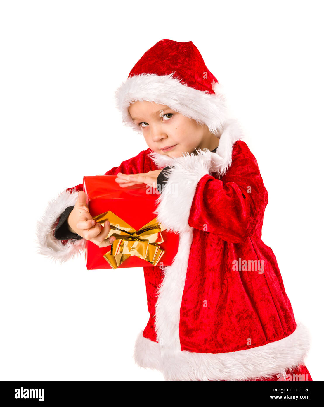 Adorable 5 year old boy wearing Santa Claus costume, Christmas gift ...