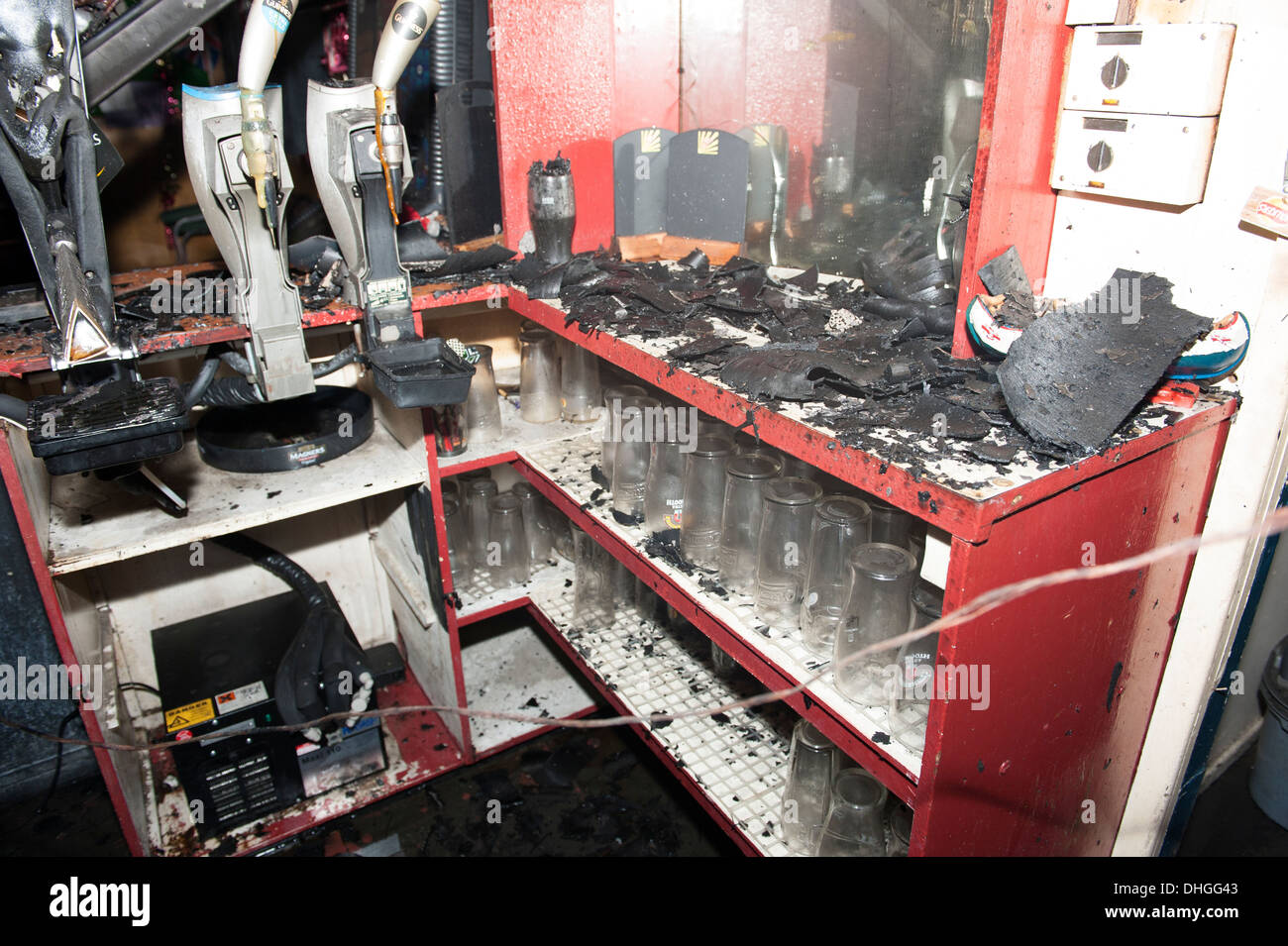 Burnt out club bar pub fire arson charred insurance - Stock Image