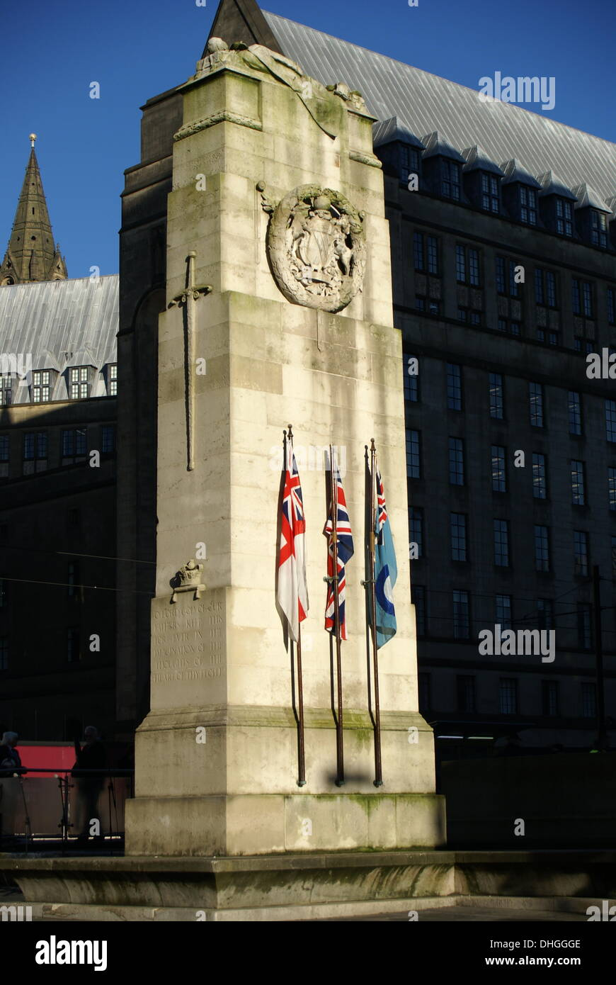 The Cenotaph in Manchester, UK on Remembrance Sunday, November 10th 2013 Stock Photo