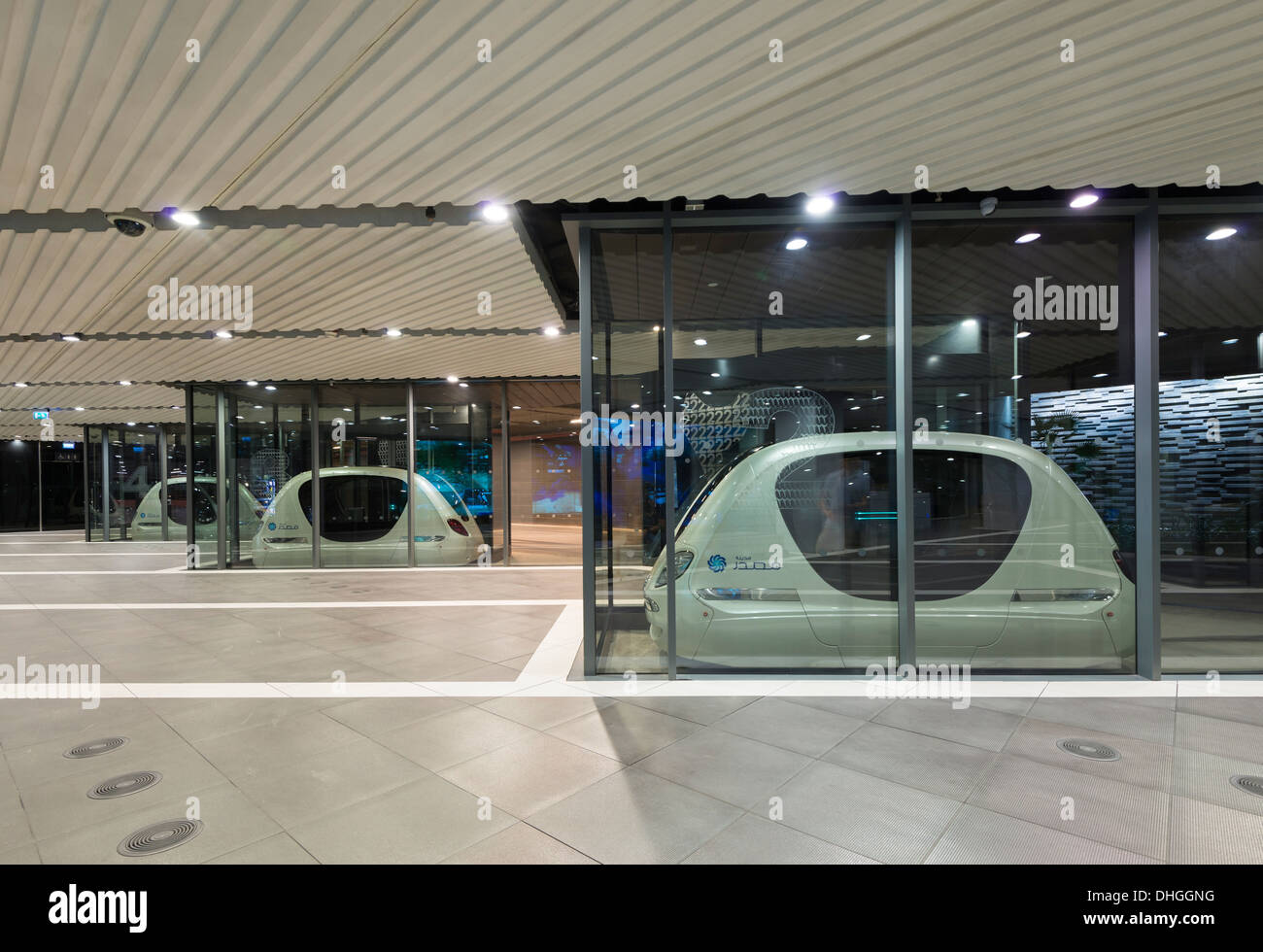 Driverless PRT Personal Rapid Transport Pod cars at Masdar City technical institute in Abu Dhabi United Arab Emirates - Stock Image