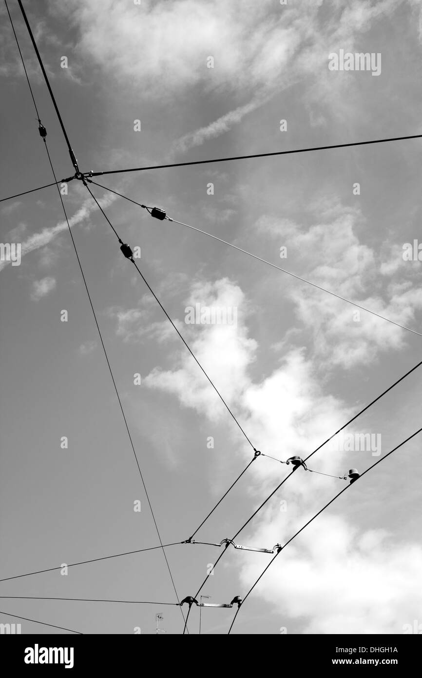 Tram Cables overhead - Stock Image