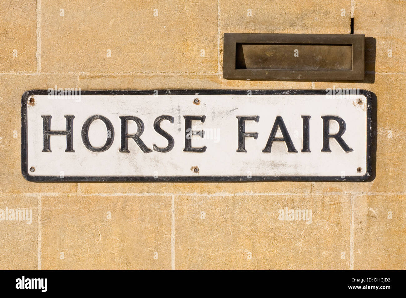 Street sign for Horse Fair in Banbury, Oxfordshire. - Stock Image