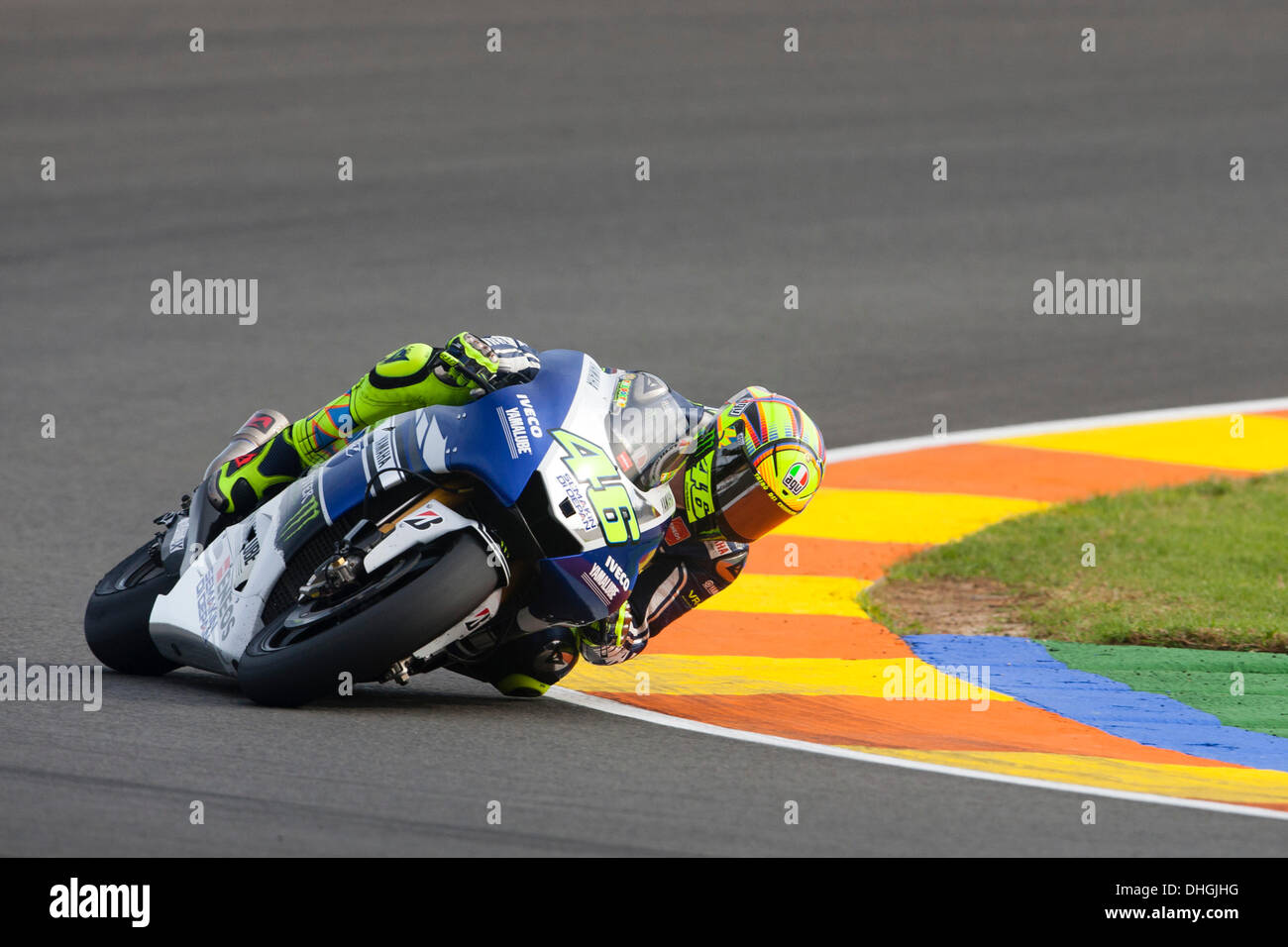 Cheste, Spain. 10th Nov, 2013. Valentino Rossi (ITA) Yamaha Factory Racing rider during Round 18 of the 2013 MotoGP World Championship from the Ricardo Tormo Valencia circuit in Spain. © Action Plus Sports/Alamy Live News Credit:  Action Plus Sports Images/Alamy Live News - Stock Image