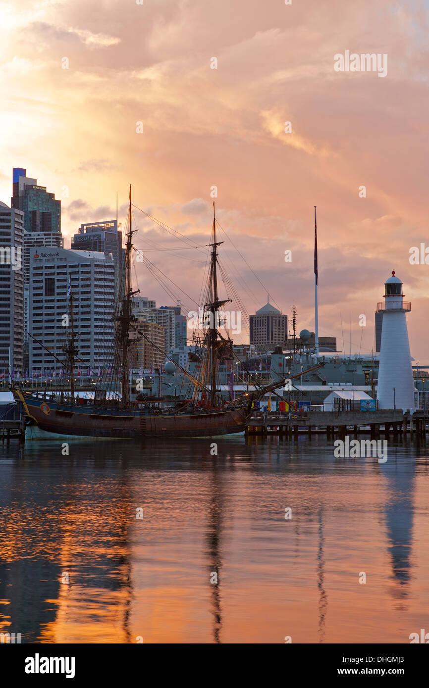 Tropical Storm Clouds Approach Darling Harbour at Dawn, Sydney Australia. Stock Photo